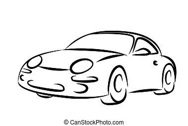 Auto, sketch. Auto., skizze, altes , retro.