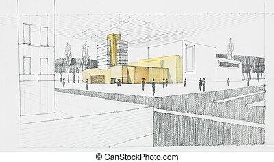 skizze, architektonisch
