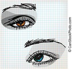 skizze, auge, weibliche , abbildung