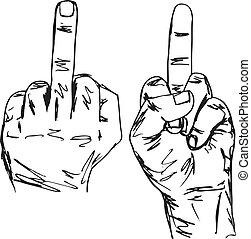 skizze, aus, weisen, ficken, abbildung, hand, finger., mitte...
