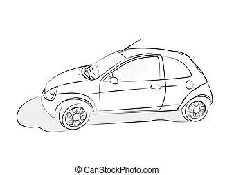 Auto, skizze, icon. Website, skizze, hintergrund., infographic, auto ...