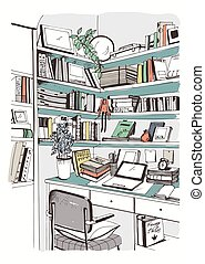 Bücherregal gezeichnet  Vektoren Illustration von gezeichnet, skizze, bookshelf., hand ...