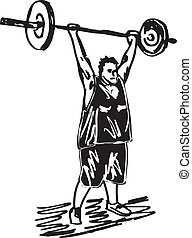 skizze, barbells., übergewichtige , abbildung, vektor, mann
