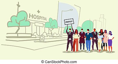 skizze, begriff, menschenmasse, tafel, protest, außen, demonstration, stehende , gruppe, gekritzel, klinikum, besitz, voll, hintergrund, cityscape, horizontal, gebäude, plakat, businesspeople, zusammen, länge