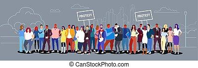 skizze, begriff, menschenmasse, tafel, protest, straße, demonstration, landschaftsbild, stehende , stadt, gruppe, gekritzel, besitz, voll, geschaeftswelt, hintergrund, horizontal, plakat, businesspeople, zusammen, länge