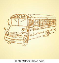 skizze, bus, schule, reizend