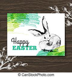 skizze, card., hölzern, abbildung, hand, aquarell, hintergrund, rabbit., gezeichnet, ostern