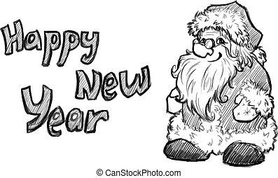 skizze, claus., abbildung, vektor, santa, weihnachten