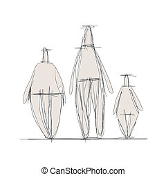 skizze, design, abstrakt, familie, dein