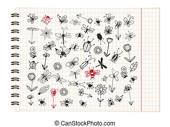 skizze, design, insekt, sammlung, dein