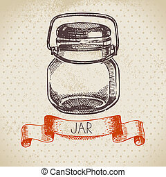skizze, einmachen, glas., rustic, maurer, weinlese, gezeichnet, hand, design.