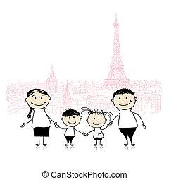 skizze, familie, paris., design, reisen, dein, glücklich