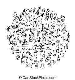 skizze, feiertag, design, dein, rahmen