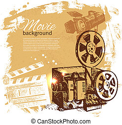 skizze, film, abbildung, hand, hintergrund, gezeichnet