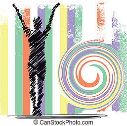 skizze, frau, abstrakt, yoga., meditieren, abbildung, vektor