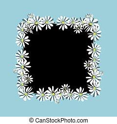 skizze, gänseblumen, design, dein, rahmen