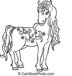 skizze, gekritzel, pferd, magisches