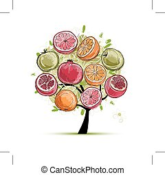 Skizze, gemacht, Rahmen,  design, Früchte, dein