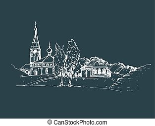 skizze, illustration., farmland., ländlich, landschaft, hand, russische, vektor, dorfkirche, gezeichnet, oder, landschaftsbild, birches.