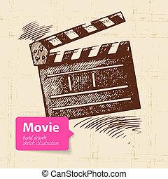 skizze, illustration., film, hand, hintergrund, gezeichnet