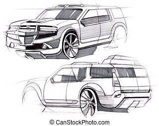 skizze, illustration., terrain., hand, fahrzeug, erhöht