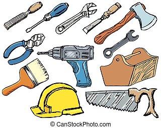 skizze, illustrationen, vektor, arbeitende , satz, hand, tools., gezeichnet, weißes