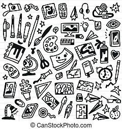 skizze, kunst, heiligenbilder, -, stil, doodles