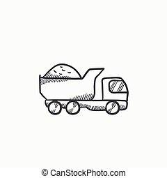 skizze, lastwagen, icon., müllkippe