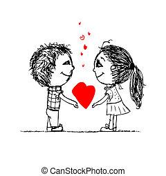 skizze, liebe, paar, valentine, design, zusammen, dein