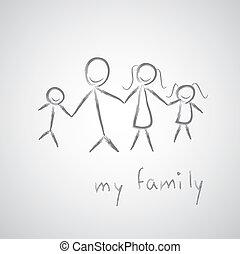 skizze, mein, familie