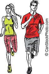 skizze, paar, runners., abbildung, vektor, marathon