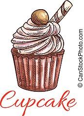 skizze, patisserie, emblem, icon., cupcake