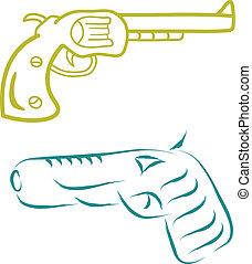 skizze, pistole
