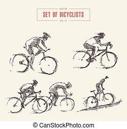 skizze, radfahrer, maenner, vektor, gezeichnet, reiter