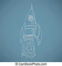 skizze, rakete, karikatur, aufsteigend, icon., schiff