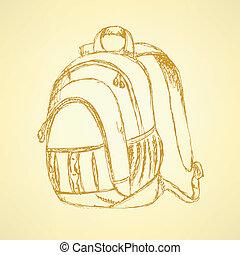 skizze, rucksack, schule, reizend