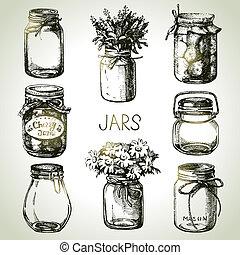 skizze, rustic, set., hand, design, gezeichnet, gläser, einmachen, maurer