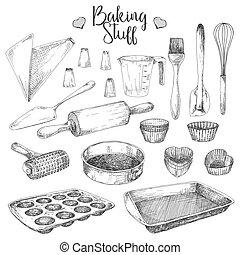 skizze, satz, backen, geschirr, abbildung, baking., vektor, füllen, style.