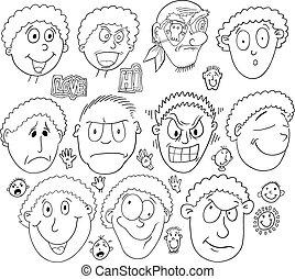 skizze, satz, gekritzel, gesicht, vektor, menschliche