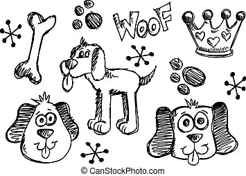skizze, satz, gekritzel, hund, vektor, junger hund