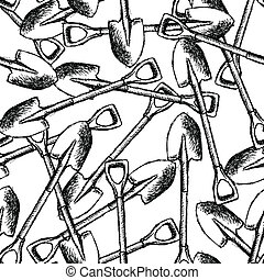 skizze, schaufel, kleingarten, muster, seamless, vektor