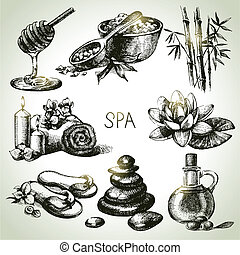 skizze, schoenheit, weinlese, set., hand, spa, ...
