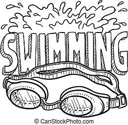 skizze, schwimmender, sport