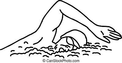 skizze, schwimmer, -, freigestellt, abbildung, hand, linien, vektor, schwarzer hintergrund, gezeichnet, weißes
