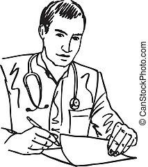 skizze, seine, buero, sitzen, medizinischer doktor, abbildung, schreibende, vektor, stethoskop, recipe., buero
