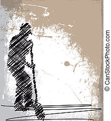 skizze, shovel., abstrakt, arbeiter, abbildung, vektor, graben
