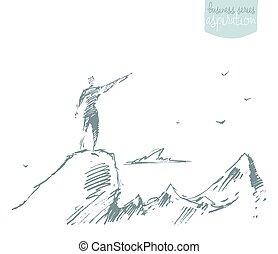 skizze, silhouette, oberseite, gewinner, vektor, hügel, gezeichnet, mann