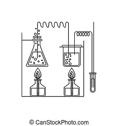 skizze, silhouette, prozess, chemische , versuch, laboratorium