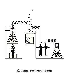skizze, silhouette, prozess, szene, chemische , versuch, feuerzeug, laboratorium
