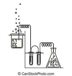 skizze, silhouette, prozess, szene, chemische , versuch, laboratorium